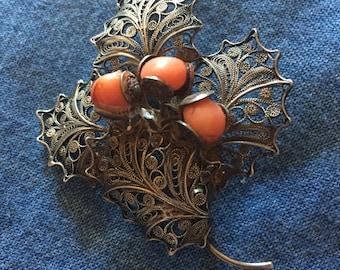 Vintage Silver Filigree Coral Brooch