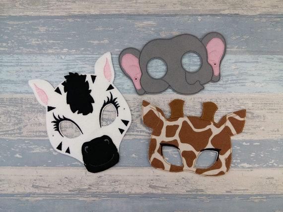 Safari Masks - Felt Face Mask Set - Zebra - Elephant