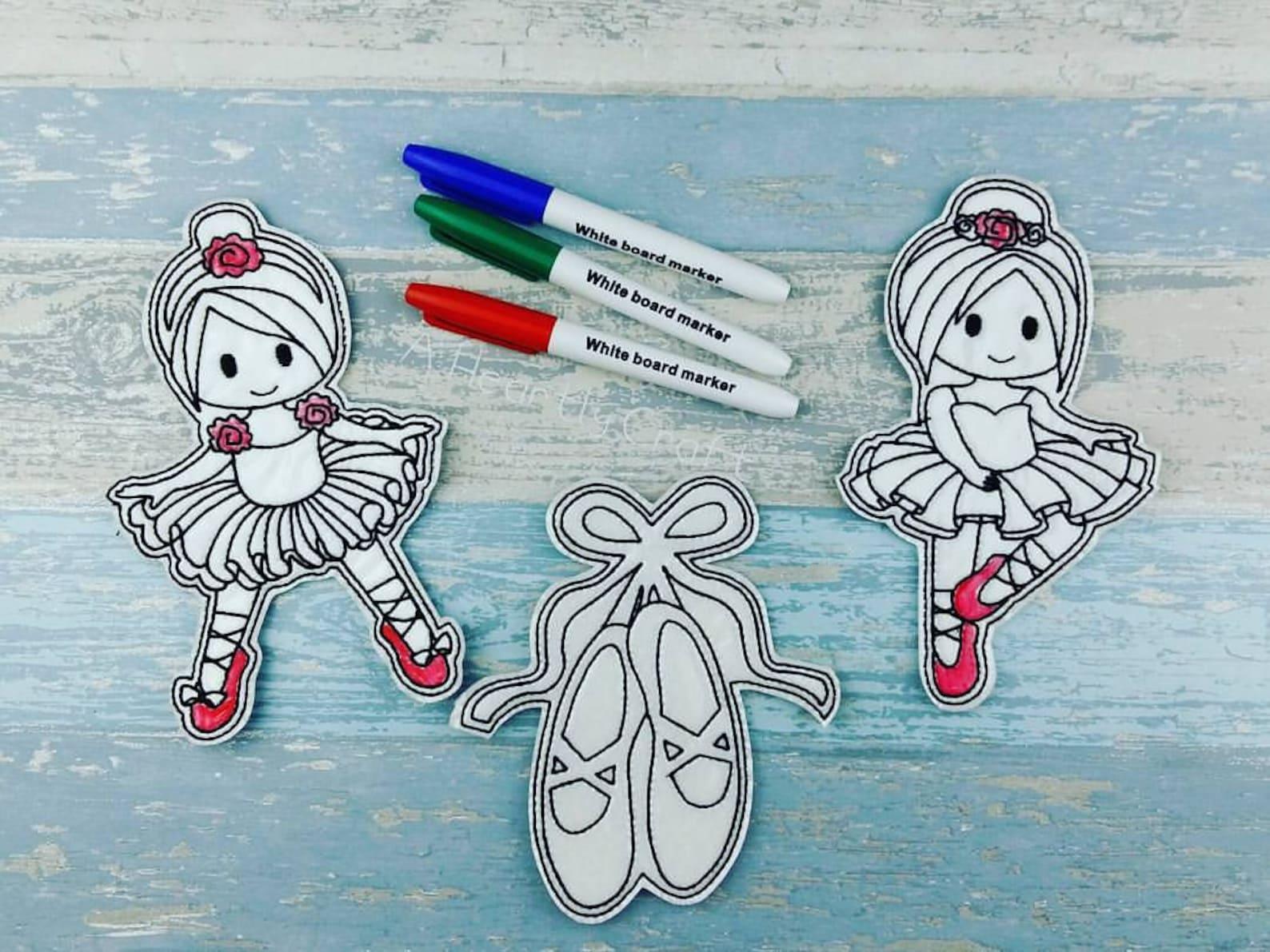 ballerina art colouring set - ballet - ballet shoes - reusable toddler quiet book play - preschool home school art - tutu baller
