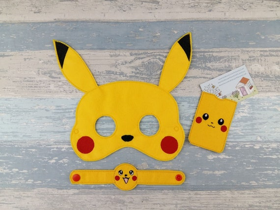 Pokemon Mask Pikachu Mask Set Including Mask Bracelet And Etsy