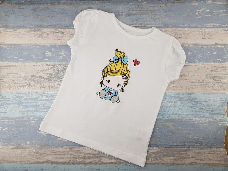 22e373dbd Personalised Birthday T-Shirt Gift Little Girl Sketch Design   Etsy