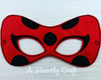 Ladybug Mask - Ladybug Felt Mask - Ladybug Girl Mask - Cosplay Mask - Pretend Play - Ladybird Mask - Party Favor - Miraculous Ladybug Mask