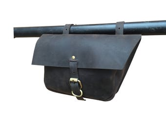 Vintage Leather Bicycle Frame Bag Motorcycle Pannier Single