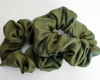 Olive Linen Scrunchie