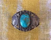 Antique Silver and Turquoise Bracelet, Gem Grade Spiderweb Turquoise ca. 1940 39 s. From Lynn Trusdell 39 s collection