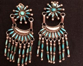The Very Best Zuni Needlepoint Clip On Turquoise and Silver Earrings, ca. 1940 39 s Vintage Native American Jewelry