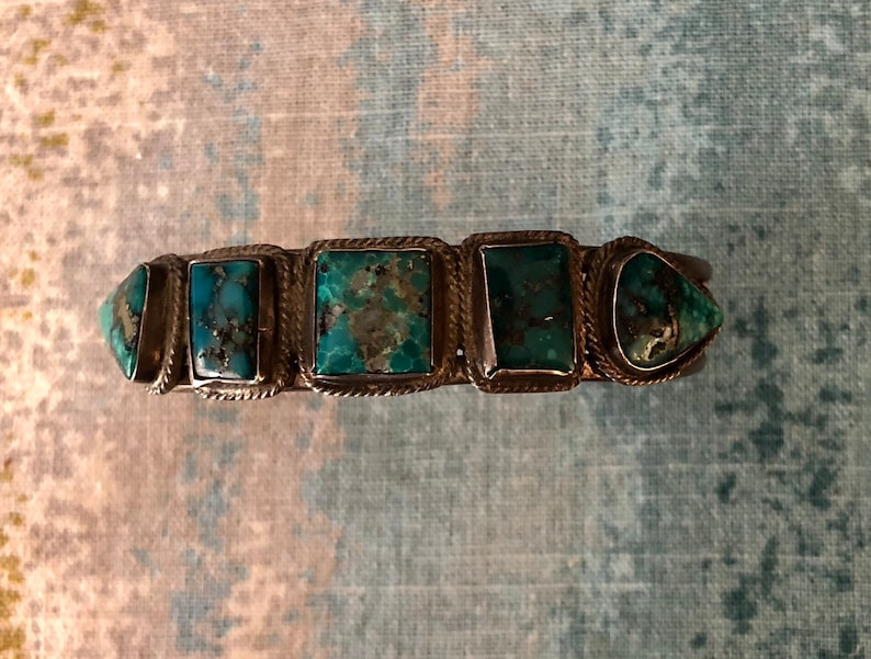 Vintage Native American Jewelry Vintage Turquoise Row Bracelet with 5 Blue Green Morenci Turquoise Stones