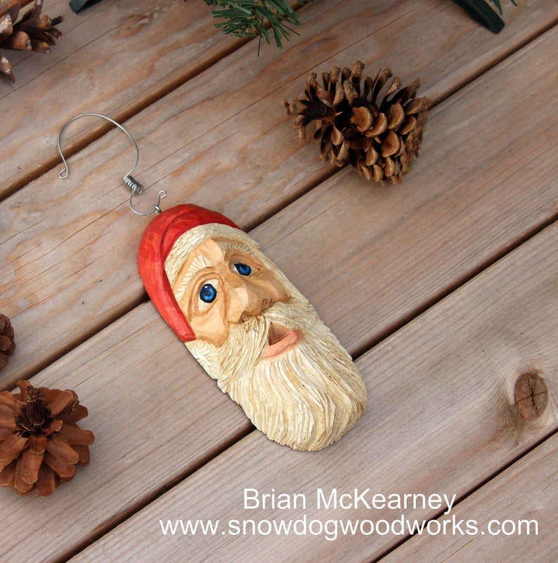 16  Hand Carved Santa Ornament Light Weight Christmas Tree image 0