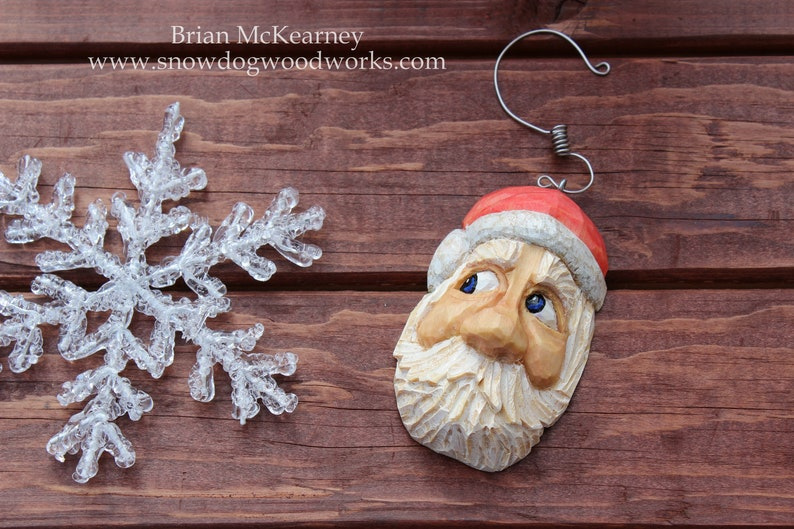 20  Hand Carved Santa Ornament Light Weight Christmas Tree image 0