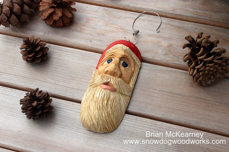 15  Hand Carved Santa Ornament Light Weight Christmas Tree image 0