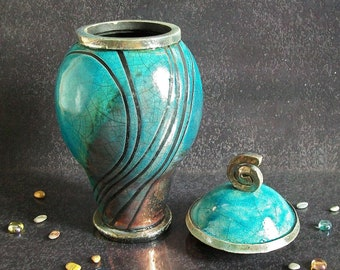 Raku elegant cremation urn for ashes turquoise crackle glaze with black stripes pattern, for human or pet, various colors and size available