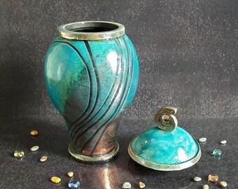 raku ceramic Urn, cremation urn for ashes, adult urn, funeral urn, keepsake urn, human urn, pet urn, raku urn, personalized urn with lid