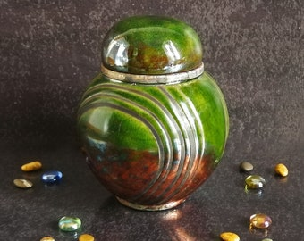 Raku ceramic round green urn minimal design for human or pet ashes, various colors, engravable, capacity 18 / 45 / 85 / 180 cubic inches
