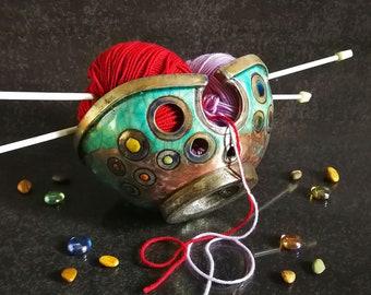 Raku ceramic knitting bowl with polka dot decoration, multiple colors available