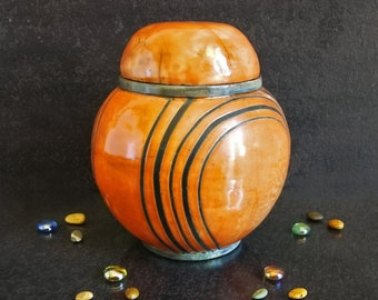 Raku ceramic round orange urn for human or pet ashes, various colors available, engravable, capacity 18 / 45 / 85 / 180 cubic inches