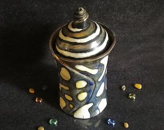 Raku ceramic tall round jar with lid, modern white polka dot pattern customizable color