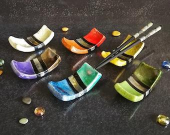 Raku ceramic chopstick holder set of 6 / 12 / 18 oriental style, sushi hashi chopstick rest, multiple colors available