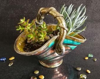 Raku ceramic basket double planter pot with tentacle handle, customizable colors