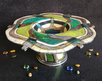 Raku ceramic large cake stand single tier with abstract floral pattern, italian pottery art, customizable colors