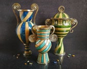 Set of 3 large raku ceramic vases quot The Three Fates Moirai Norns quot - amphora, vase and lidded cup with stripes texture, gilded spiral handles
