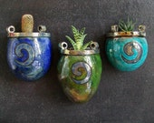 raku ceramic wall planter vases set available individually or the full set, pretty wall pots decorated with crackle glaze and golden swirls