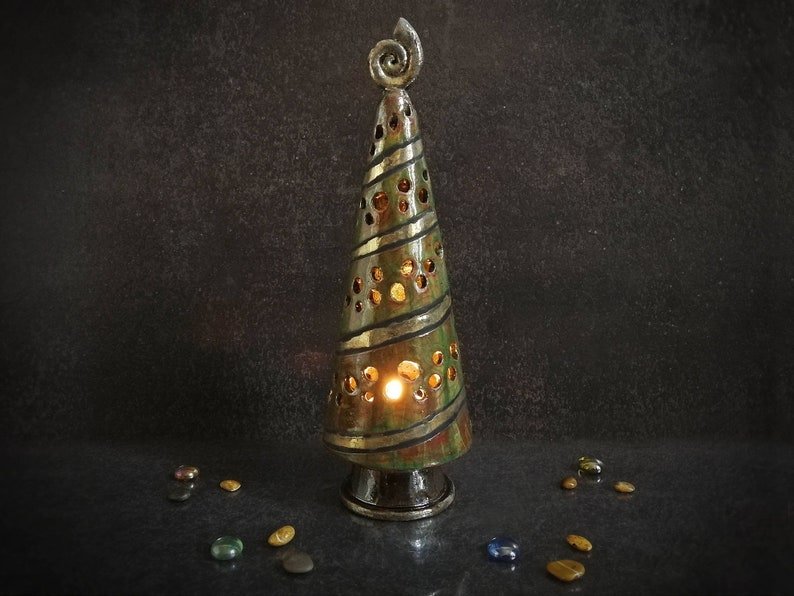Ceramic Christmas Tree Candle Holder Raku Pottery Christmas Decoration Tealight Holder Tree With Light Pottery Tree Cute Christmas Gift
