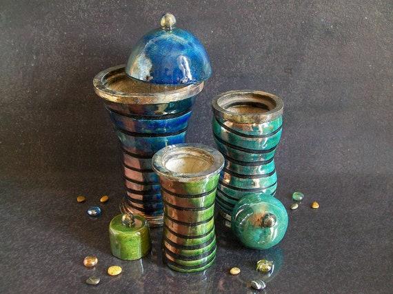 Raku Ceramic Jar Set Italian Canister Set For Kitchen Etsy