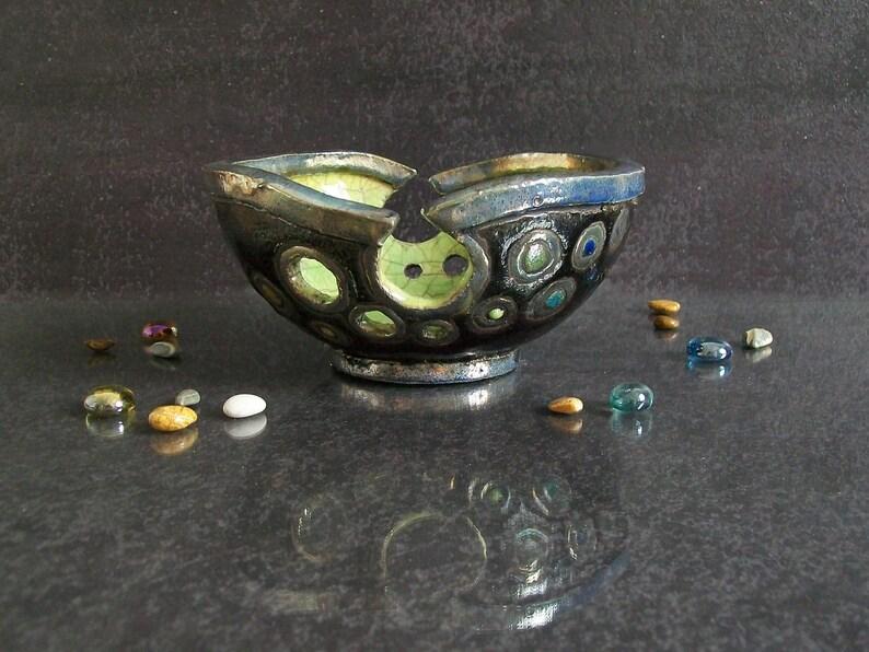 handmade yarn holder gift for knitters raku bowl ceramic knitting bowl raku pottery bronze yarn bowl crochet bowl bowl for knitting