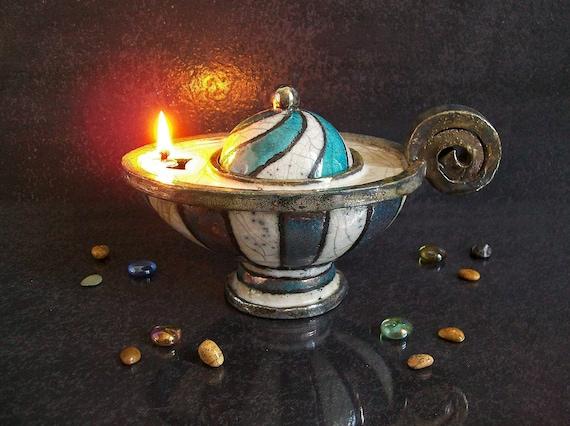 Lampade Ad Olio Per Esterni : Lampada a olio in ceramica raku lampada a olio turchese e etsy