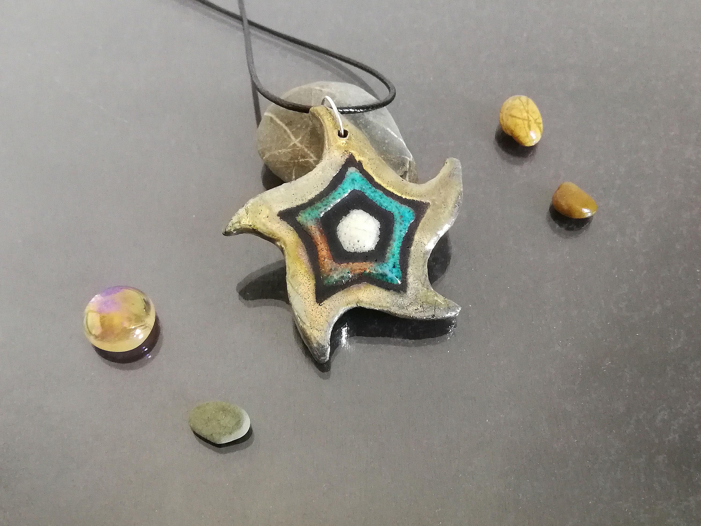 Raku Keramik Anhänger Halskette in emaillierten Seestern