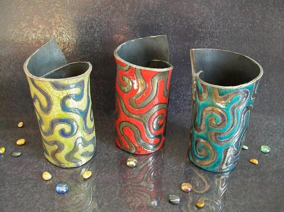 Raku Pottery Cylinder Vase Set Colorful Vases With Golden Etsy