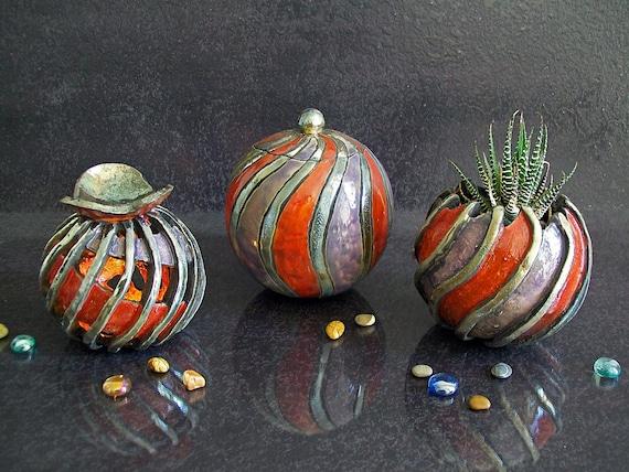 15/% OFF planter in raku pottery yellow series ALCYONE essential oils diffuser Set Jewelry Box