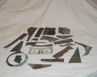 Vintage copper scrap pieces for crafting
