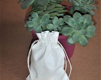 "50 pcs White Cotton Drawstring Bags * Cotton Pouches * Cotton Party Favors * 3""x4"" (8cm x 10cm)"