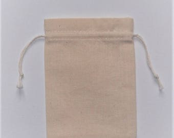 "10 Plain Muslin Cotton Pouches * Birthday Goodie Bags * Bridal Shower Pouch * 3.5"" x 4.7"" ( 9cm x 12cm )"
