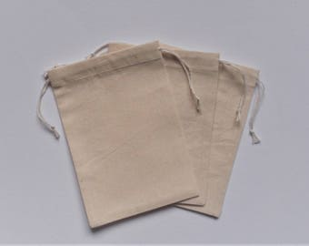 """Cotton Drawstring Bags * Fabric Favor Bags * Cotton Gift Pouches* Jewerly Bags, Muslin Bags * set of 50 * 3"""" X 4"""" (8cm x 10cm )"""