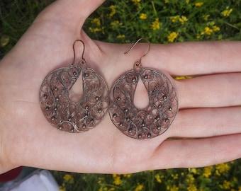 Earrings of copper, handmade