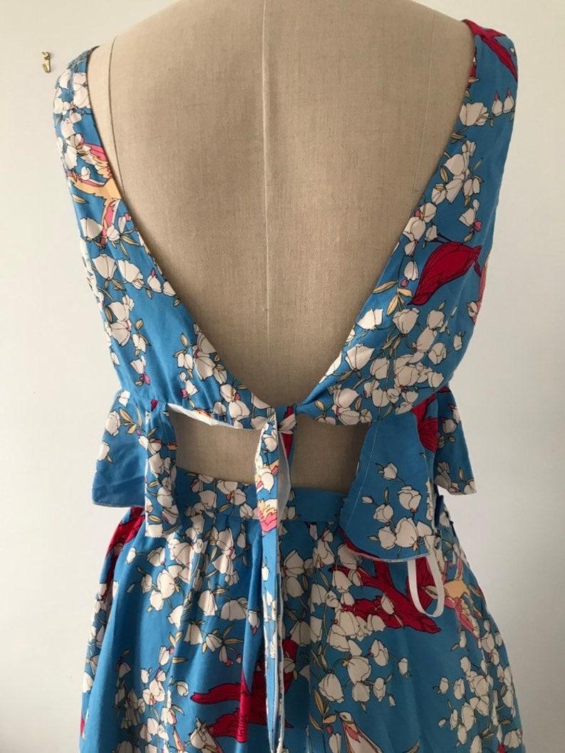 Co-ord skirt and peplum crop top bird fabric uk 8