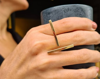 architectural ring with two silver bars and one gold bar for women architecture lovers