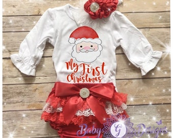 d90e5fade Baby first Christmas / My First Christmas outfit baby girl / Santa onesie  baby girl