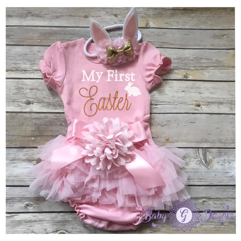 a2eff5d9772c My First Easter baby girl First Easter Outfit Easter Bunny | Etsy
