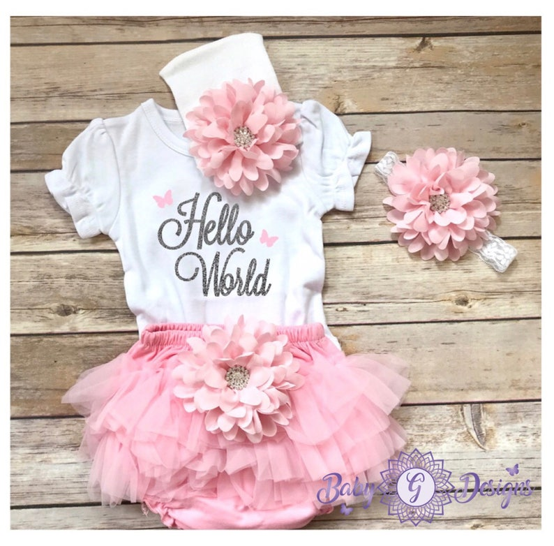 5ce96d2cdd7 Hello world Newborn Coming Home outfits Pink Baby Girl Outfit