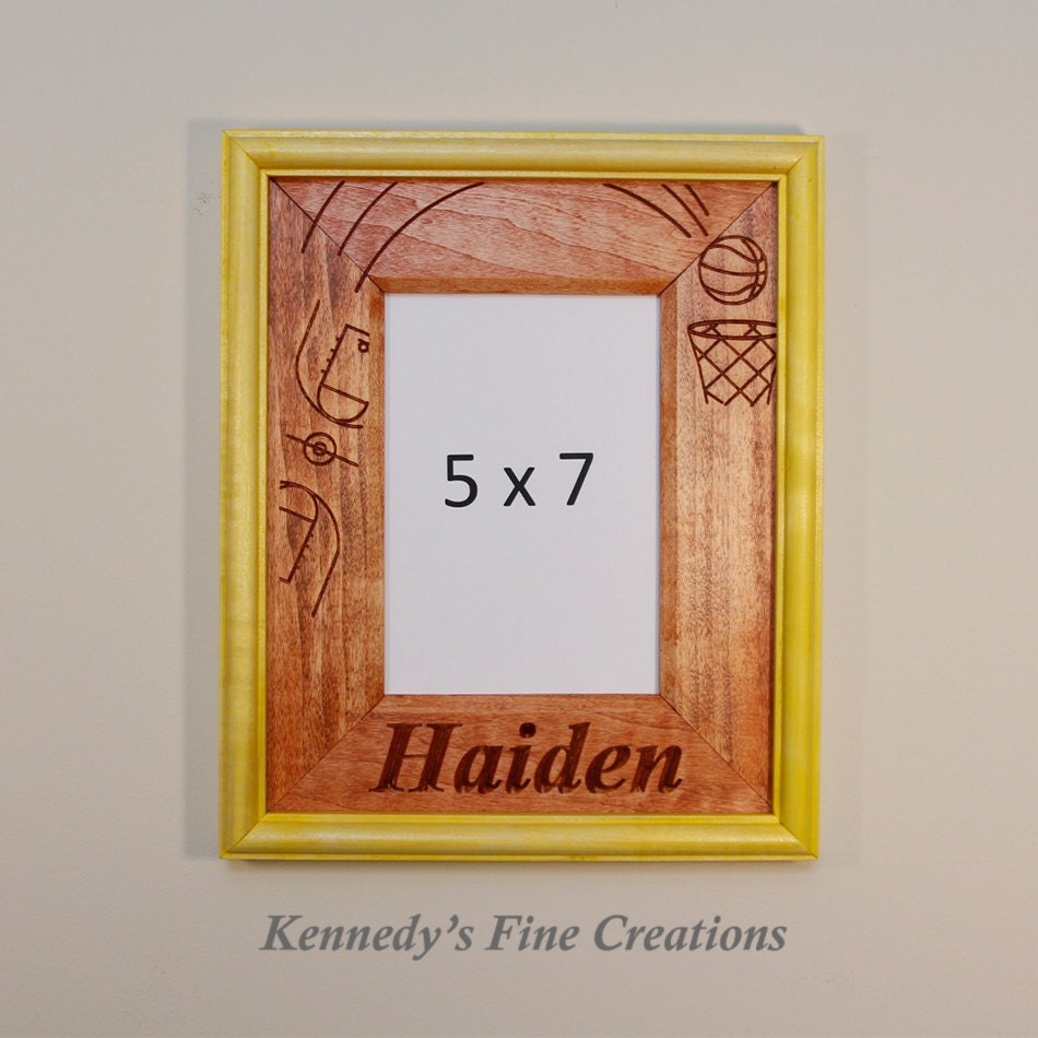 Pastel Purple Pink Green Blue Timber Wood Look: Personalized Basketball Engraved Stained Wood Picture Double Frame (5X7