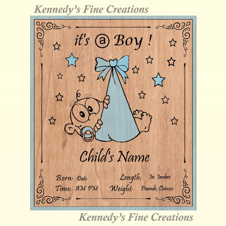 Personalized Engraved Baby Boy Or Girl Birth Announcement Wood