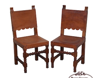 Quick View. Vintage Pair Of Spanish Colonial Leather Side Chairs