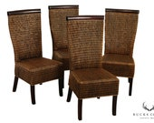 Rattan Wicker and Hardwood Set 4 Dining Chairs