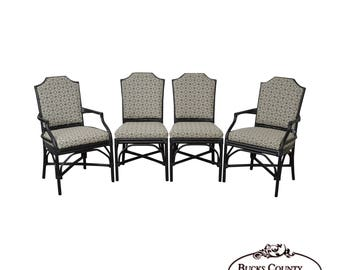 Palecek Pavilion Custom Upholstered Set Of 4 Pole Rattan Dining Chairs