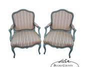 Antique French Louis XV Style Pair of Painted Fauteuil Arm Chairs