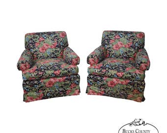 Quality Pair Of Custom Floral Upholstered Club Chairs By Baker