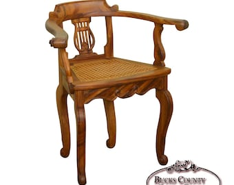 Quick View. Anglo Indian Solid Padauk Wood Carved Lyre Back Cane Seat Arm  Chair